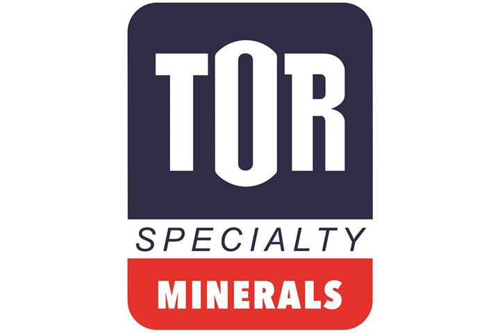 Tor Minerals logo with pictures of fire fighters, PVC pipes, a multi-colored building, and passenger train